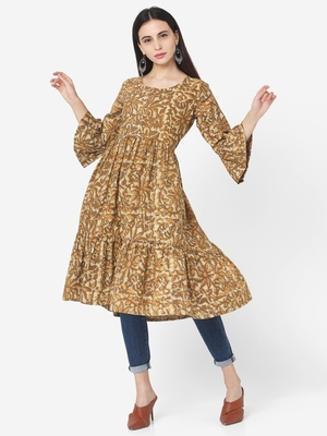 Brown Colour Flared Dress