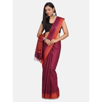 Red hand woven poly silk saree with blouse
