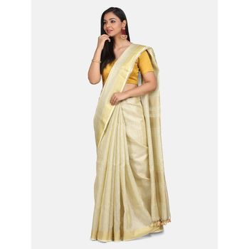 Golden hand woven linen saree with blouse