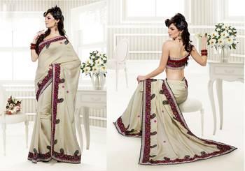 Elegant Designer Sari Saffron 201
