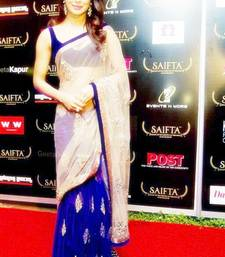 Buy Cream And  Blue embroidered net saree with blouse priyanka-chopra-saree online