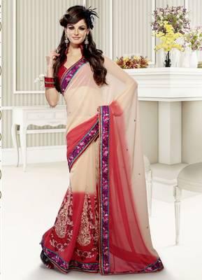 Elegant Designer Sari Saffron 204