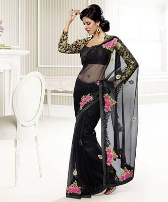 Elegant Designer Sari Saffron 205