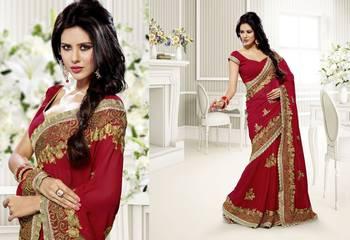 Elegant Designer Sari Saffron 208