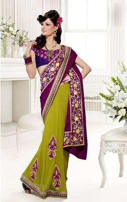 Elegant Designer Sari Saffron 210