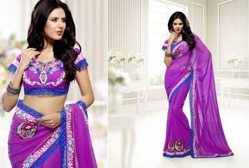 Elegant Designer Sari Saffron 212