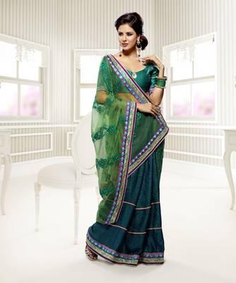 Elegant Designer Sari Saffron 215
