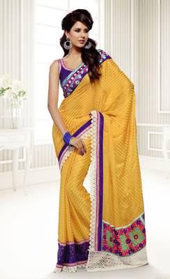 Elegant Designer Sari Saffron 216