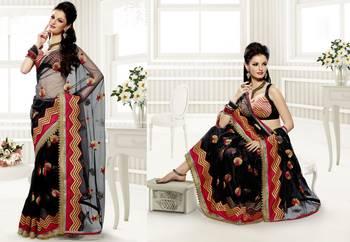 Elegant Designer Sari Saffron 217