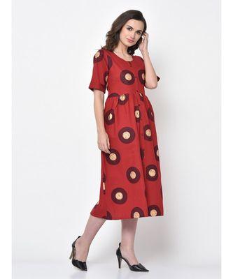 WOMEN RED LINEN BLEND FIT-AND-FLARE KURTA