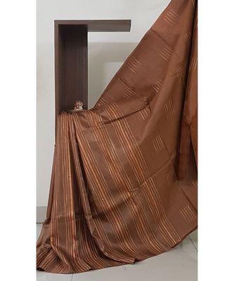 Brown pure tussar silk saree