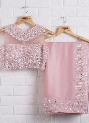 Baby Pink Designer Organza saree with blouses