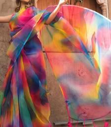 Multicolor Designer Organza saree with blouses