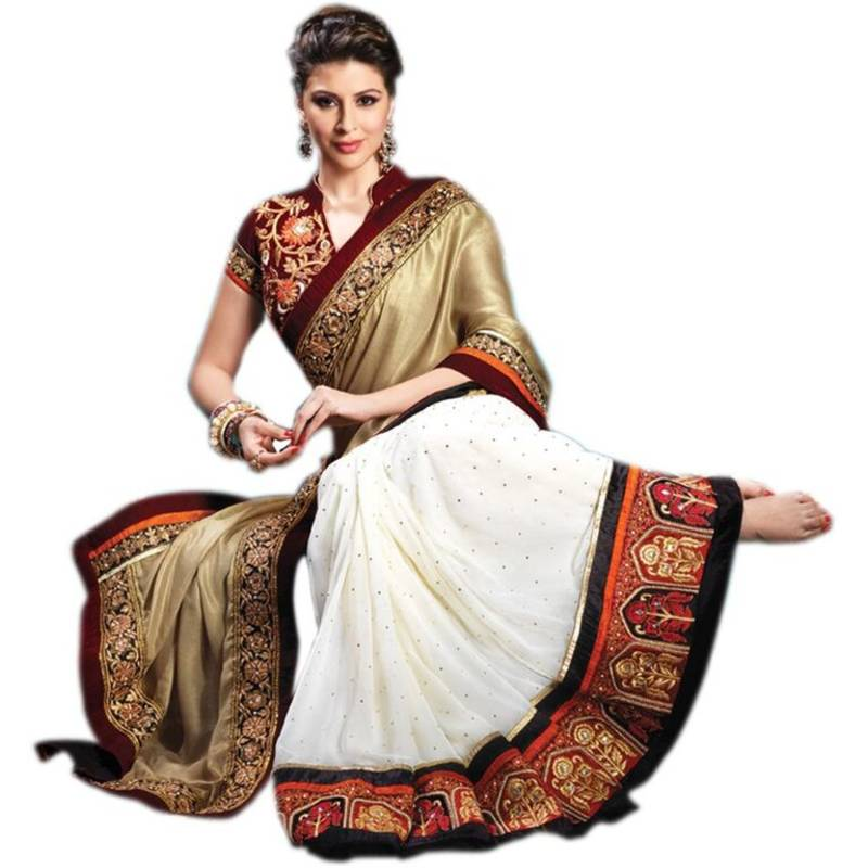 Gold And White Embroidered Georgette Saree With Blouse Zahara 497345