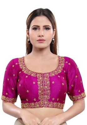 Women's Magenta Art Silk Readymade Saree Blouse