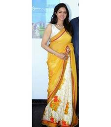Buy Yellow , White And  Red printed chiffon saree with blouse sridevi-saree online