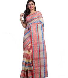 Cream Colour Ball Butta Pure Cotton Bangali Tant Sarees For Women without Blouse Peace