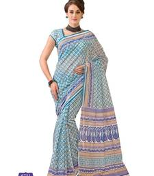 Buy Cream And  blue printed cotton saree with blouse cotton-saree online
