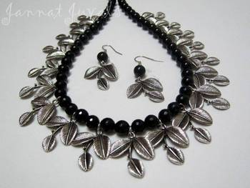 Black Onyx Leaf necklace set