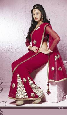 Chiffon dark red wedding saree