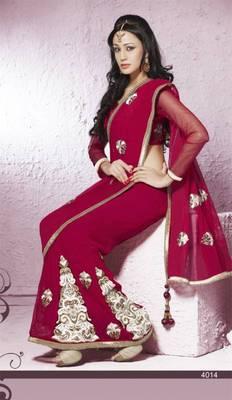 Chiffon dark red wedding saree