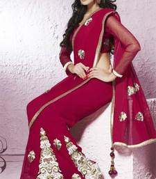 Chiffon dark red wedding saree shop online