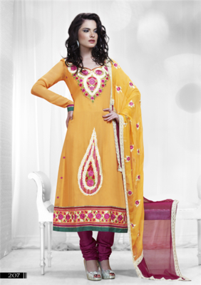 Yellow Sunshine Embroidery Work Dress Material