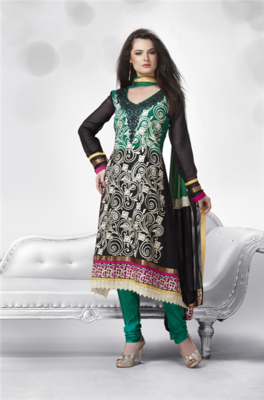 Green -black shaded georgette suit with entrique embroidery work