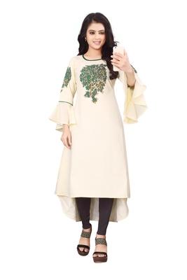 Women's Cream Rayon kurti