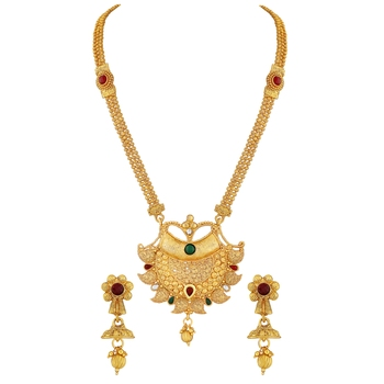 Traditional Kuiri design Gold toned Necklace Set For Women