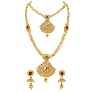 Traditional Cone Shape Gold toned Necklace Set For Women