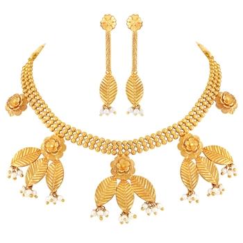Traditional Leaf Shape 1 Gram Gold plated Choker Necklace Set For Women