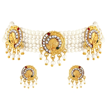 Traditional Meenakari Gold toned Choker Pearl Necklace Set For Women