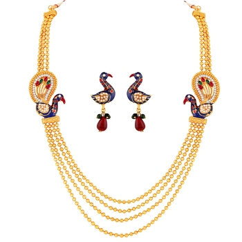 Traditional Peacock Gold toned Multi string Necklace Set For Women