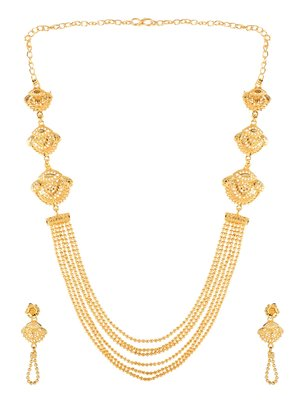 Attractive 1 Gram High Gold plated MultiString Necklace Set For Women