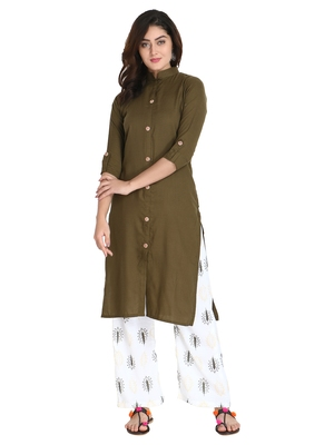 Women's Dark Green Rayon kurti