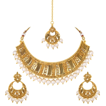 Kundan Pearl Studded Gold toned Necklace Set For Women