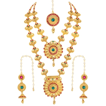 Traditional Gold toned Bridal Jewellery Necklace Set For Women