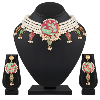 Peacock Inspired Kundan Pearl Studded Gold toned Necklace Set For Women