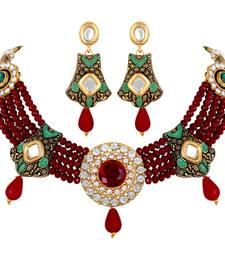 designer Kundan Beaded Gold toned Choker Necklace Set For Women