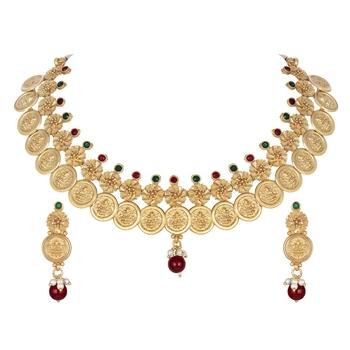 Wedding wear Laxmi Coin design 18 K Gold Plated Bridal Choker Necklace Set
