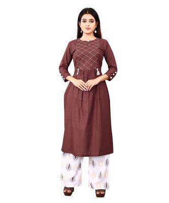 Women's Brown Rayon kurti