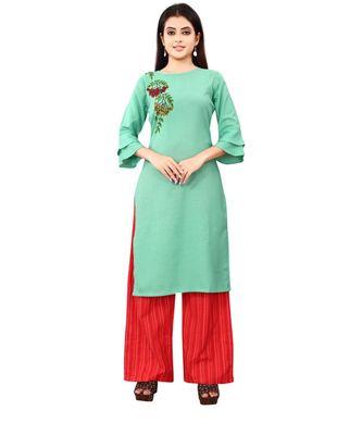 Women's Rama Green Rayon kurti