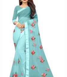 Sky Fancy Net Fabric Saree With Blouse Piece