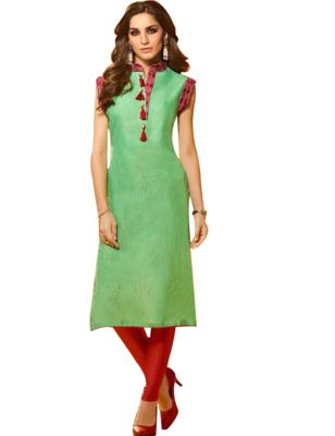 Light Green Designer Stitched Kurti