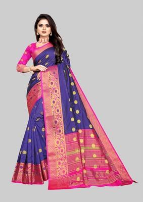 Vatudi Fashion Woven Banarasi Cotton Silk Blue Color Saree for Women