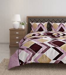 Swayam 144 TC Pure Cotton Rust and Beige Geometric Printed Double Bed Sheet With 2 Matching Pillow Covers