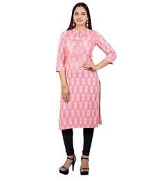 Light-baby-pink printed cotton kurtas-and-kurtis