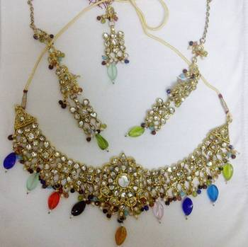 White Stones Kundan Meena Necklace Set with colored drop