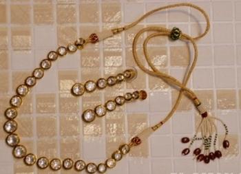 Single Line Kundan Meena Necklace